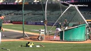 Cody Ross Takes His First Round Of BP With The Athletics