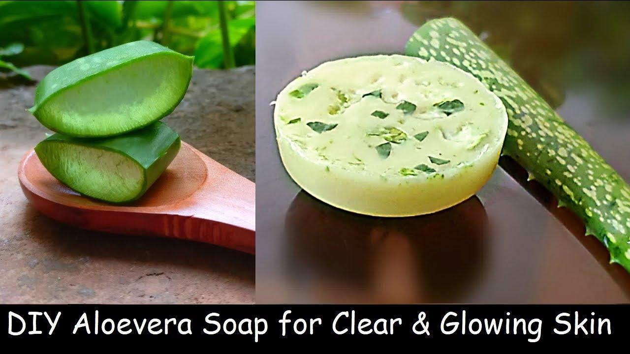 Homemade Aloevera Soap | Skin Glowing Soap | Skin Whitening Soap with Aloevera Gel, Home Soap Making