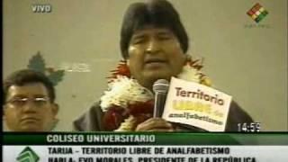 Evo Morales declara al departamento de Tarija territorio libre de analfabetismo - Dic. 2008
