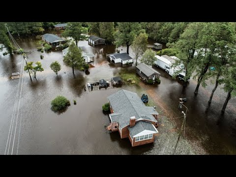 Drone footage of widespread flooding in Kinston, NC after Hurricane Florence