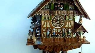 Anton Schneider Chalet Cuckoo Clock With Animated Umpa Band, Dancers, Water-wheel And Bell-ringer