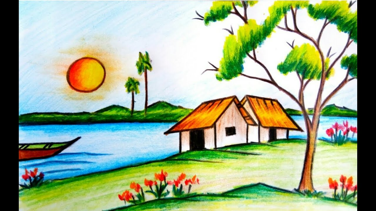 How To Draw A Beautiful Village Scenery Step By Step With Water
