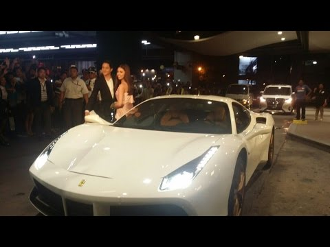 Alden Richards & Maine Mendoza Arrived in a White Ferrari Sports Car #IYAMTheGrandPremiere
