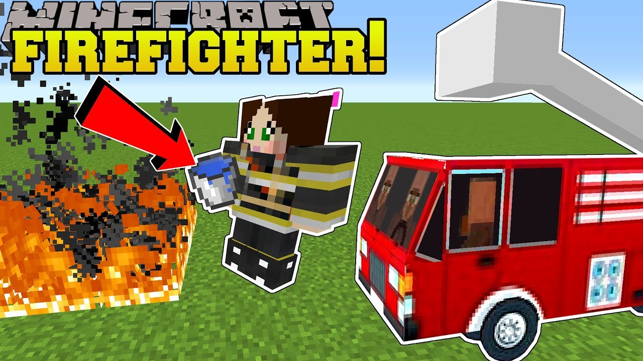 Minecraft: WE BECOME FIREFIGHTERS!! - FIRE FIGHTING SCHOOL - Custom Map