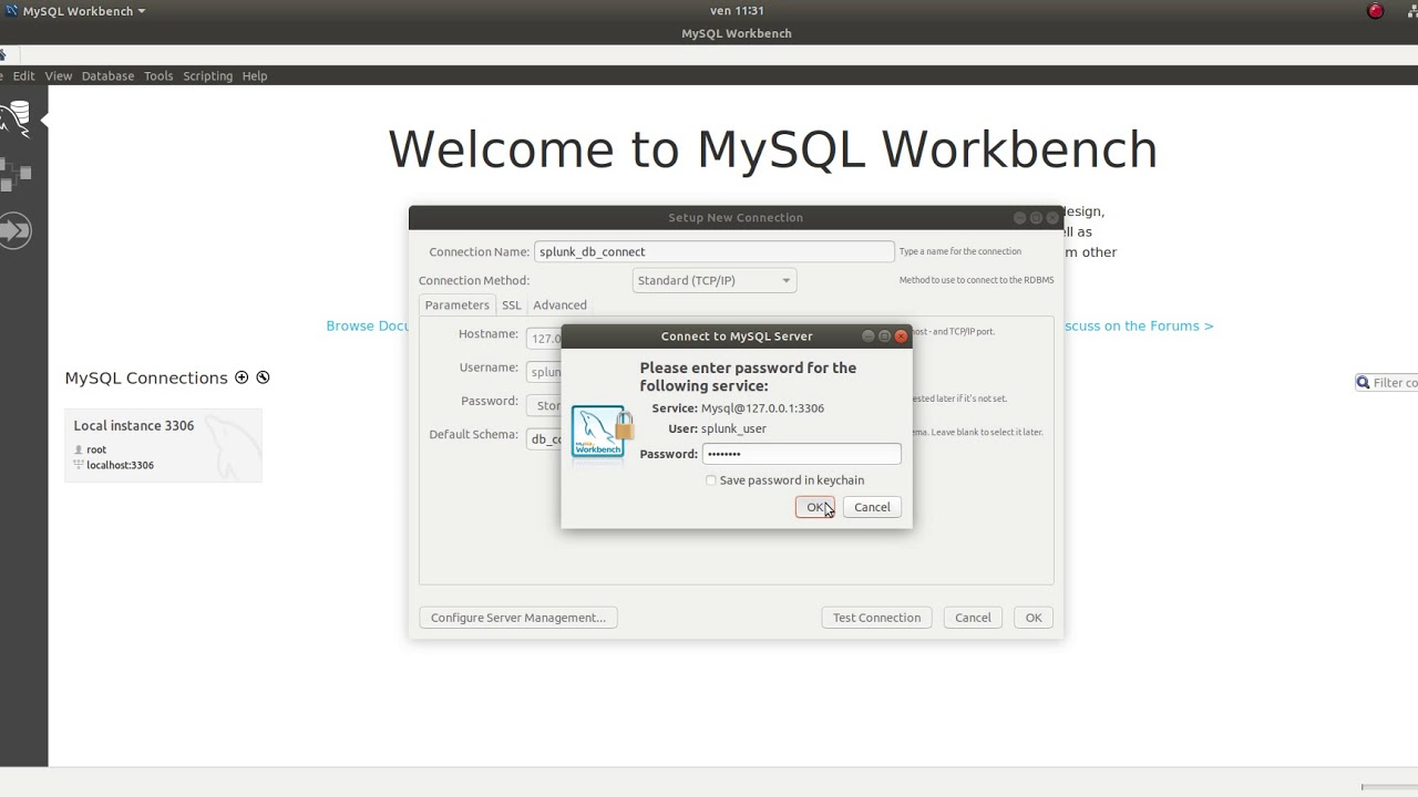 create your first database with mysql workbench on linux