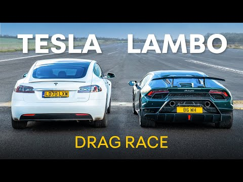 Lamborghini Huracan Performante v Tesla Model S Performance - DRAG RACE & 0-100-0 RACE
