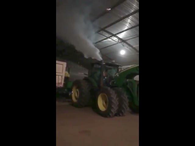 John Deere 8R engine explosion in Brazil