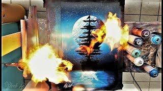 Blue Ship - SPRAY PAINT ART - by Skech