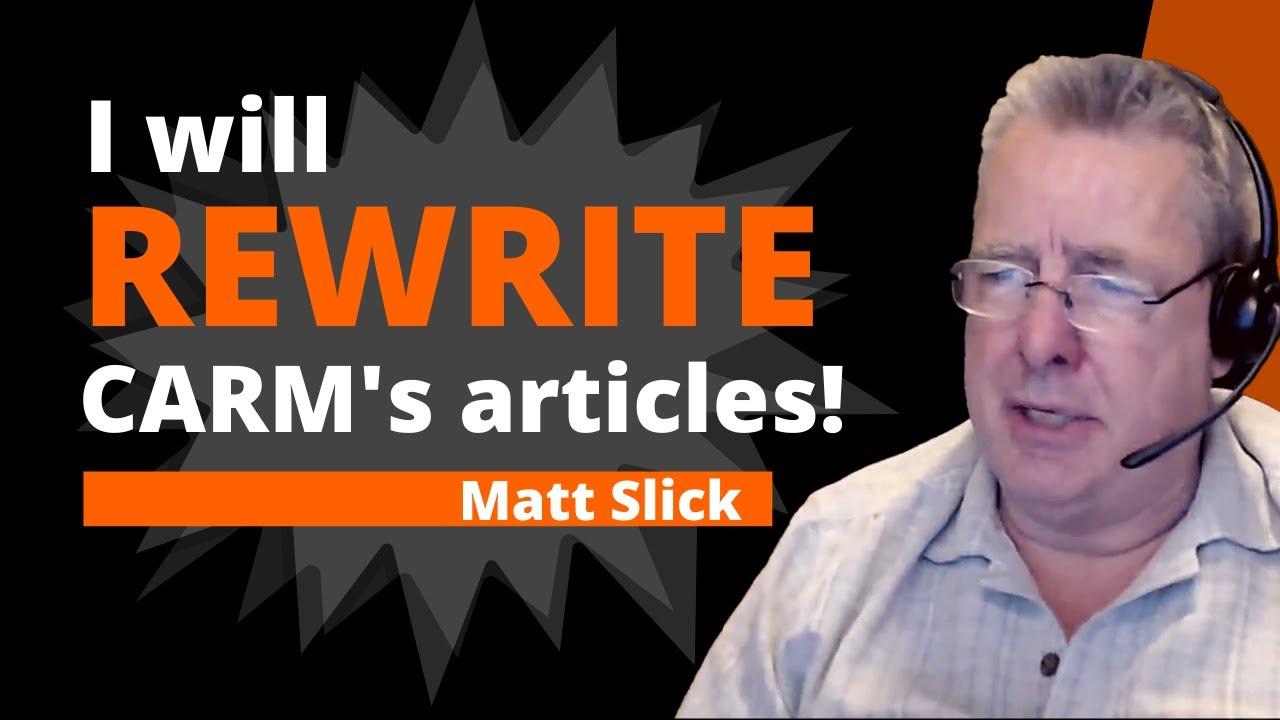 Matt Slick Agrees To Rewrite CARM - But Will He?