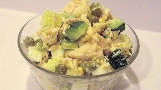 Куриный Салат с Яйцами, Огурцами и Зелёным Горошком