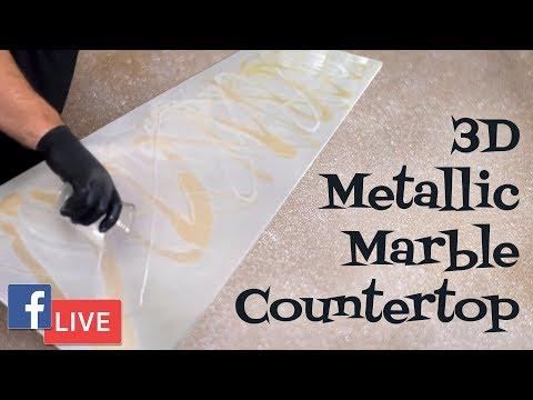 3D Metallic Marble Countertop