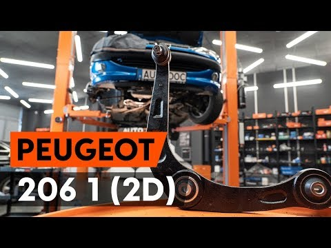 How to replace front suspension arm / front control arm on PEUGEOT 206 1 (2D) [TUTORIAL AUTODOC]