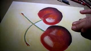 "Pintando ""Cerezas"" al pastel seco o tiza  Proceso creativo"