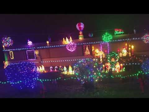 Israel Christmas Light Display  Asheville, NC 2017 Gemmy Deco Shape  Blowmold Airblown