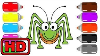 Kid -Kids -Spray Painting BUGS Insects/Learn Colors /Animals Alien Dance Fun/Bugs Insects Quiz Lear