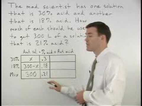 Mixture Word Problems Mathhelp Algebra Help Youtube