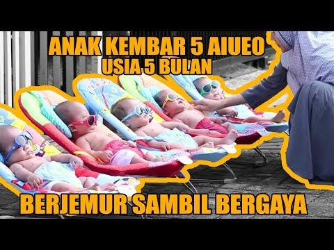 ANAK KEMBAR 5 AIEUO BERJEMUR SAMBIL BERGAYA   BABY QUINTUPLET