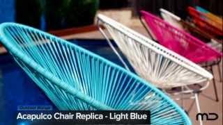 Acapulco Chair Replica - Outdoor Wicker - Light Blue - Milan Direct