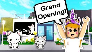 THE GRAND OPENING OF MY CAT CAFE // Roblox Bloxburg // Bloxburg Cat Cafe