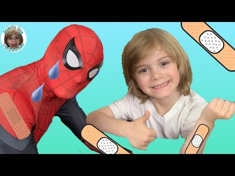 The Boo Boo Story with Spiderman Far From Home saves Jace's Toy Playhouse