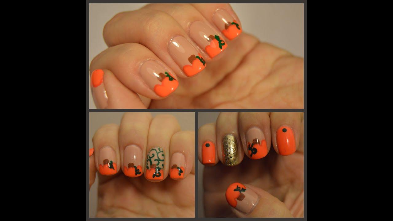 Easy Pumpkin Nail Art Tutorial Youtube