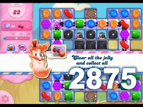 Candy Crush Saga Level 2875 (22 moves version, 3 stars, No boosters)