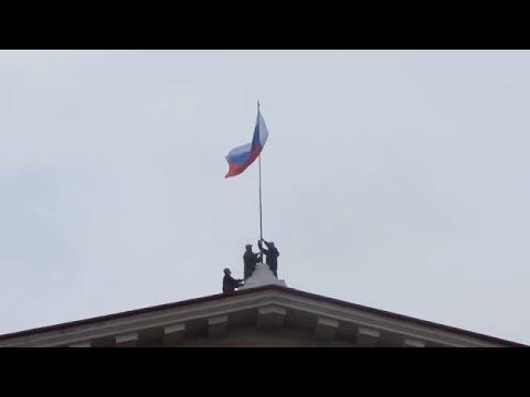 Ukraine War - Ukrainian students on Russian flag raising ceremony in Crimea Ukraine