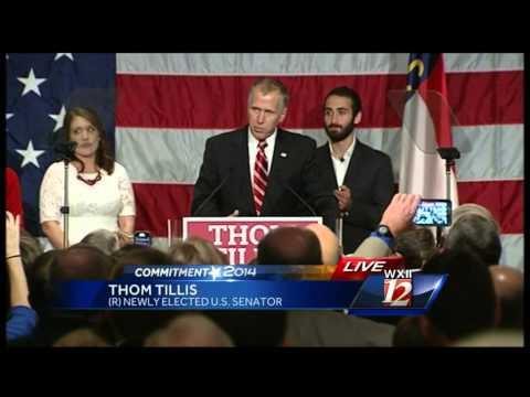 Tillis celebrates US Senate victory in Charlotte