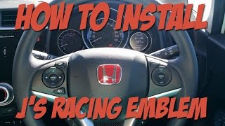How to install J's Racing Red Honda Steering Wheel Emblem
