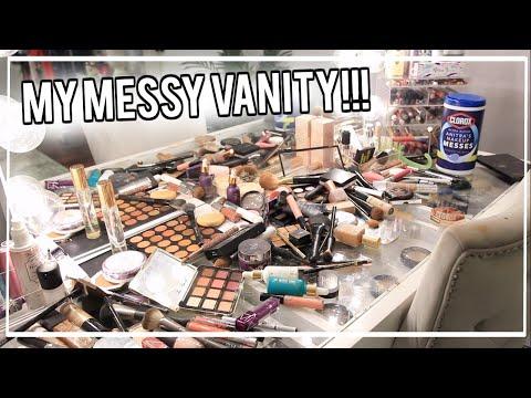 Clean With Me!   Declutter My Makeup Vanity! My #UltraMess!