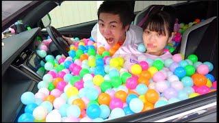 妹の車を10000個のカラーボールで破壊した。彼氏とのデート阻止する
