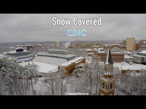 Aerial of Snow Covered UNC-Chapel Hill in 4k