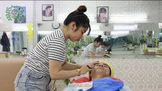 Barbershop Vietnam Face Shave Relax by Beautiful Girl