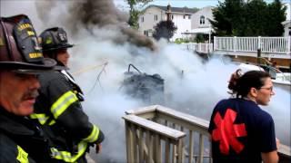 40 - 50 foot boat fire in Oceanside, New York