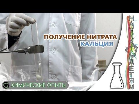 Реакция азотной кислоты и карбоната кальция, получение нитрата кальция/Obtaining calcium nitrate