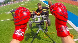 IMPOSSIBLE FOOTBALL CATCH CHALLENGE vs JOSH HORTON! *BABY OIL, BOXING GLOVES, HULK HANDS*