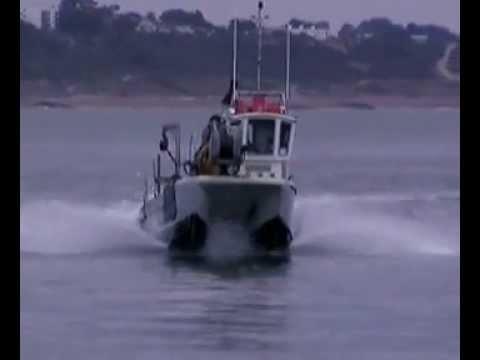 Fast Commercial Fishing Boat Aluminum Catamaran at Christchurch UK - YouTube