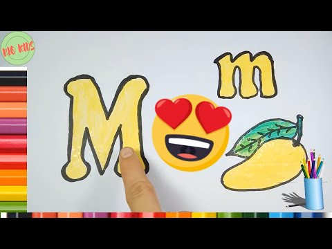 How to drawing and coloring letter M 🎨Learn alphabet with Rio kids