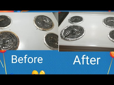 Cleaning electric stove | DIY mixture for cleaning drip pans| Pakistanis in canada