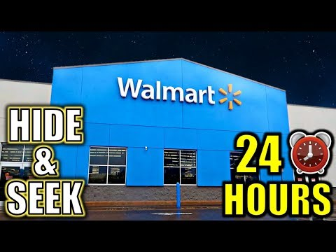 24 HOUR OVERNIGHT HIDE AND SEEK CHALLENGE IN WALMART **PART 2**