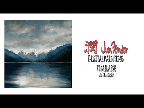 photoshop timelapse blue mountains speedpainting