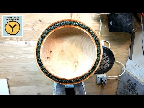 Woodturning Mineral Inlaid Cypress Bowl