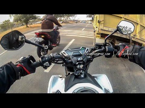 Drag race Honda new CB150R vs Yamaha new Vixion Advance 2015