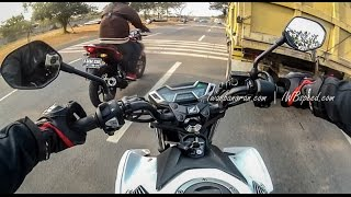 Drag race Honda new CB150R vs Yamaha new Vixion Advance 2015