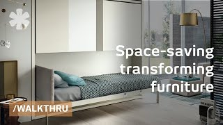 Space saving furniture that transforms 1 room into 2 or 3(Resource Furniture sells bookshelves, couches and desks- and a combination of the above- that are so highly engineered that they gracefully transform into ..., 2011-06-27T13:33:07.000Z)