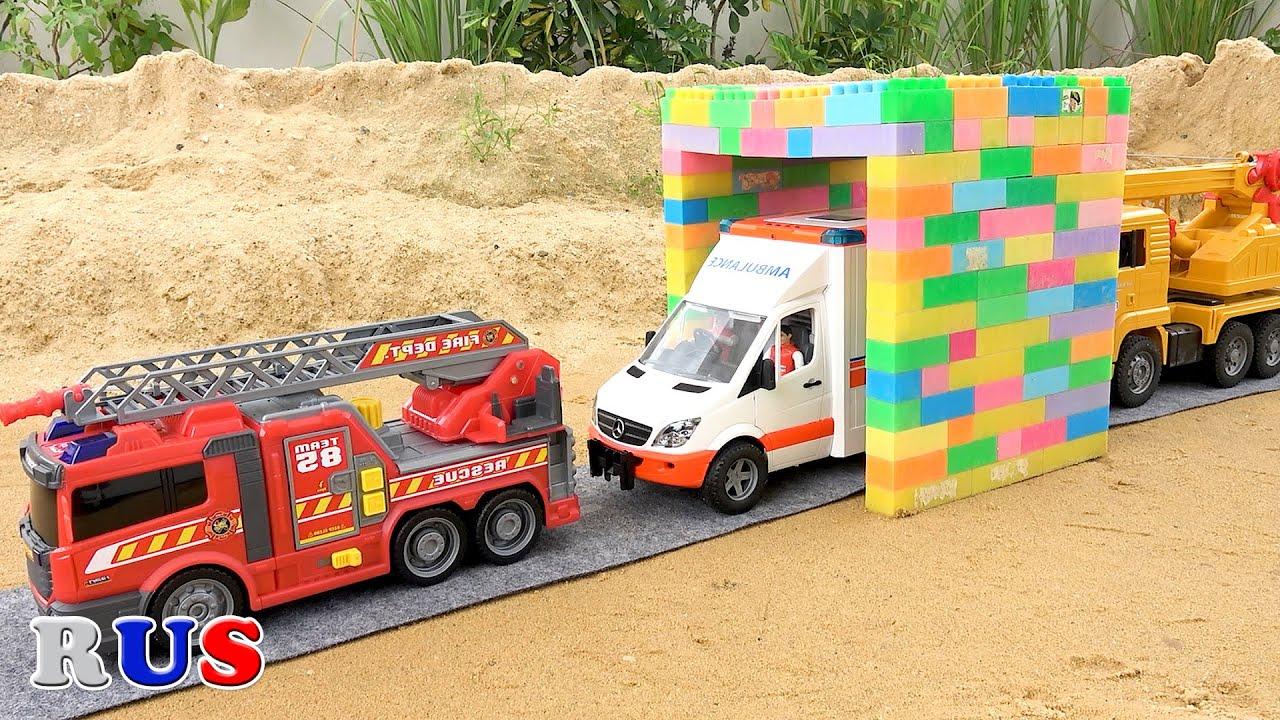 Пожарная машина экскаватор автокран игрушечная машина трансформация играть