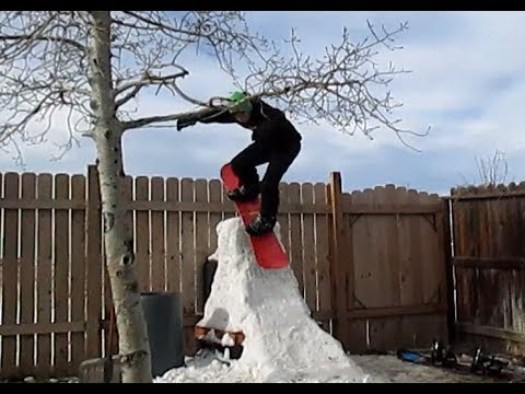 Backyard Snowboarding And Zipline Fun!