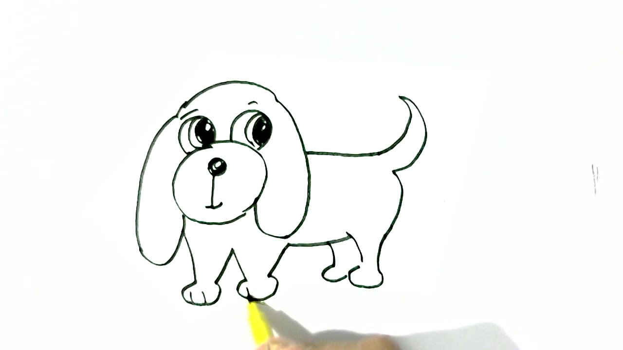 How To Draw Easy Dog In Easy Steps For Children Beginners Youtube