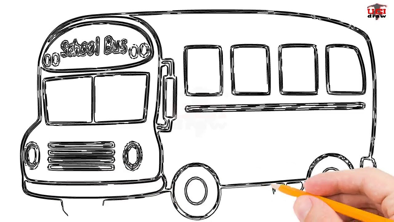 How To Draw A Bus Step By Step Easy For Beginnerskids Simple