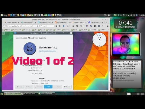 2016 - Slackware 14.2 KDE  - How to verify & create a Live USB - Video 1 - Dec 9